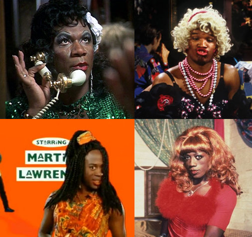 African-American actors Ving Rhames, Jamie Foxx, Martin Lawrence and Wesley Snipes in drag