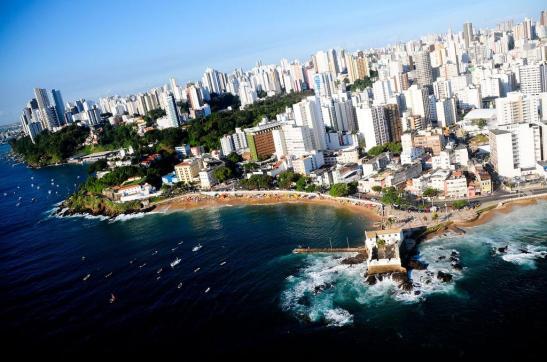 Aerial view of Salvador, Bahia, with an overview of Praia do Porto da Barra
