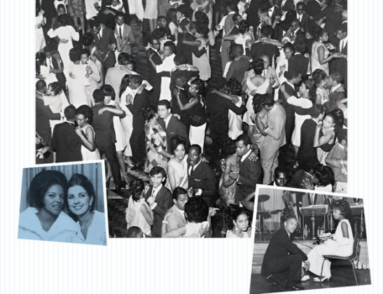 Up to 2,000 people attended parties hosted in halls like Casa de Portugal, including the annual debutante ball (right). At headquarters, it was possible to find Miss Guanabara 1964, a black woman, Vera Lúcia Couto (pictured with Miss Brasil Angela Vasconcelos).
