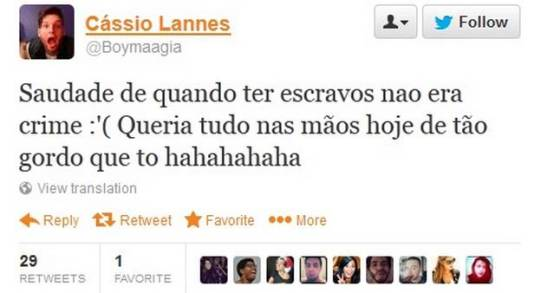 """Cássio Lannes Twitter post: """"Longings for when owning slaves was not a crime."""""""