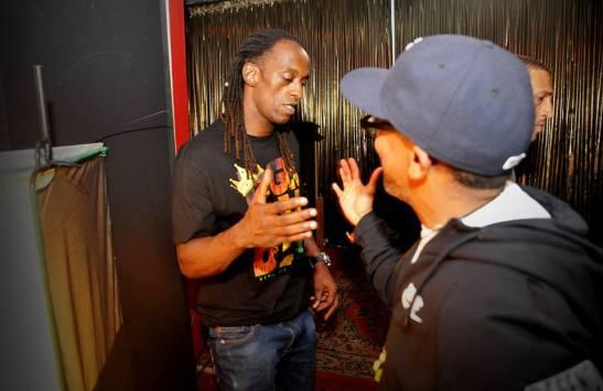 Filmmaker Spike Lee greets Ice Blue of the Racionais MCs