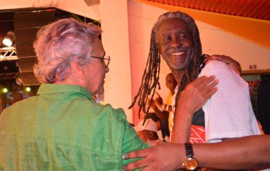 President of Ilê Aiyê, Vovó, with famed singer Caetano Veloso