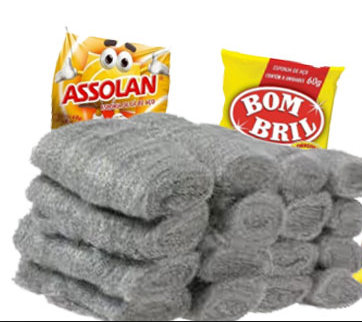 Assolan and Bombril are well known cleaning products in Brazilian stores