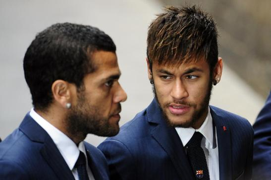 Brazilian Barcelona teammates Daniel Alves and Neymar