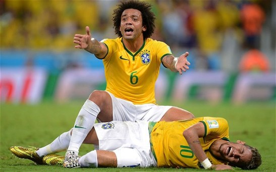 Teammate Marcelo protests after Zuñiga's blow to Neymar