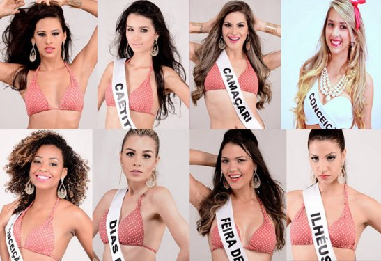 Candidates of Miss Bahia 2014; winner Anne Lima is the second photo on the top row