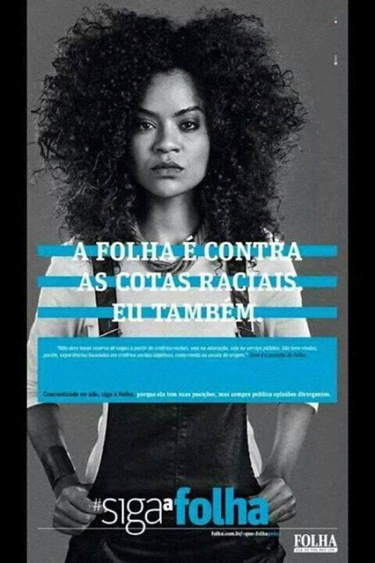 Model Carol Prazeres in anti-Affirmative Action ad by the Folha de S. Paulo newspaper