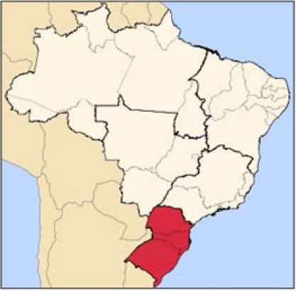 """The states of Paraná, Santa Catarina and Rio Grande do Sul, the three Brazilian states that received massive European immigration in the 19th century. 80% of Brazilians who live in these states today classify themselves as """"branco"""" (white)"""
