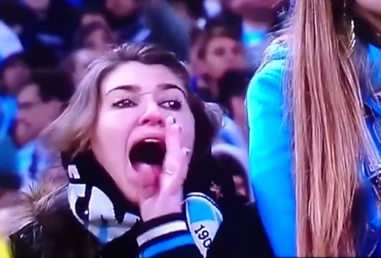 Fan of the Grêmio team caught on video yelling racist insults at Santos goalie