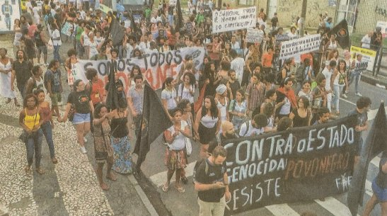 "Bahia - The march proceeded on major streets in the capital city, Salvador, the city known as ""Black Rome"""