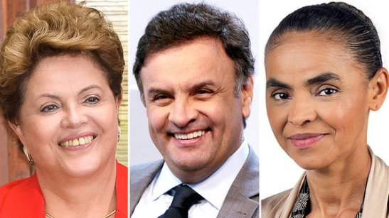 Candidates for the presidency: Current President Dilma Rouseff, Aécio Neves and Marina Silva