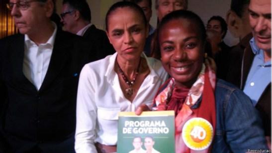 Marina Silva, left, with Valneide Nascimento