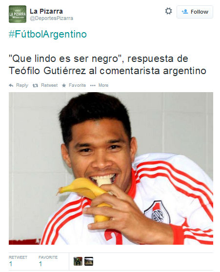 """In response to the racist comment, Gutiérrez tweeted """"How beautiful it is to be black"""". Eating the banana is a direct reference to a racist incident that happened to the Brazilian Daniel Alves in Spain several months ago."""