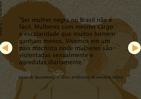 """""""To be a black woman in Brazil is not easy. Women with the same position and education than many men earn less. We live in a sexist country where women are sexually violated and assaulted daily."""" - Estela do Nascimento, 37, elementary school teacher"""