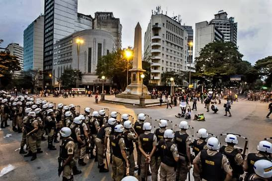 In June, in Belo Horizonte, Minas Gerais, police confront anti-World Cup protesters
