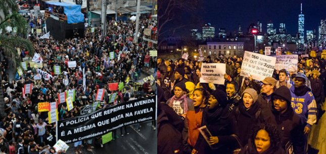 Protesters in Rio de Janeiro in February 2013 and in New York December 2014