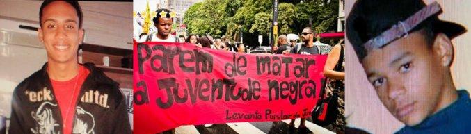 "Sign: ""Stop killing our black youth"" Jonathan de Oliveira Lima, 19, of Rio de Janeiro and Alisson de Paula Guerreiro, 15, of São Paulo, both killed by Military Police"