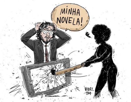 """Vitor T's depiction of black women activists reactions to recent comments by Congressman Jean Wyllys supporting 'Sexo e as negas'. Caption reads: """"My novela (soap opera)"""""""