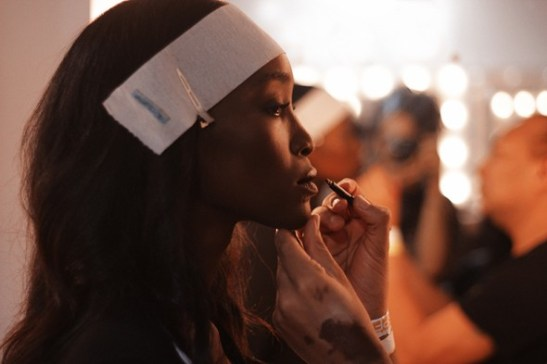 Carola backstage before her entrance onto the runway