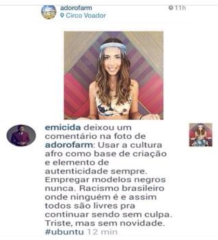 Rapper Emicida's criticism of the Farm ad