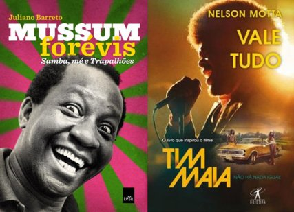 Books about singer/actor Mussum and singer/musician Tim Maia