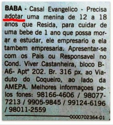 Ad appeared in the classified seciton of the 'Diário do Pará' and caused an uproar in social networks and labor organs