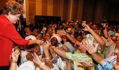 President Dilma Rousseff meets some of her supporters
