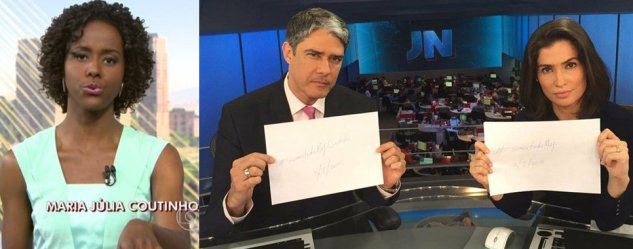 The Globo TV network's Jornal Nacional weather girl, Maria Júlia Coutinho (left). At right, anchors William Bonner and Renata Vasconcellos pose with posters with the phrase #SomosTodosMaju (We are all Maju) in 'support' of Coutinho who was the target of various racist comments online