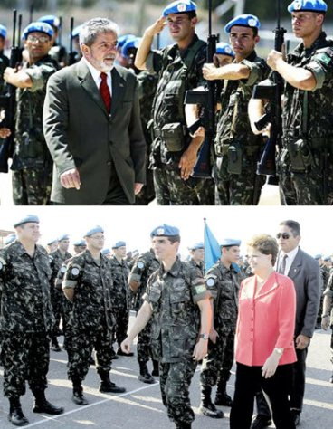 Brazilian presidents Lula da Silva and then Dilma Rousseff survey Brazilian troops in Haiti