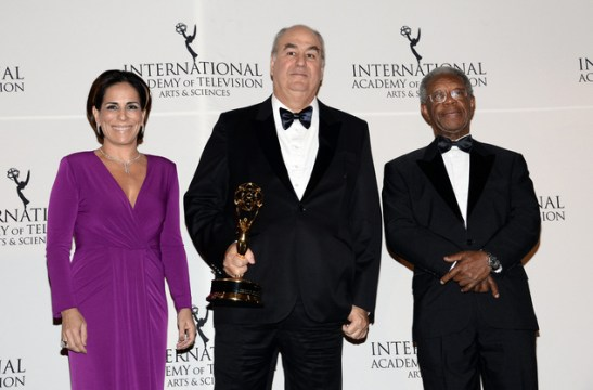 November 2014: In New York, Actor Milton Gonçalves (right) poses in photo with actress Gloria Pires (left) and chairman/CEO of Globo TV Roberto Irineu Marinho. Marinho was honored with an honorary International Emmy Directorate Award
