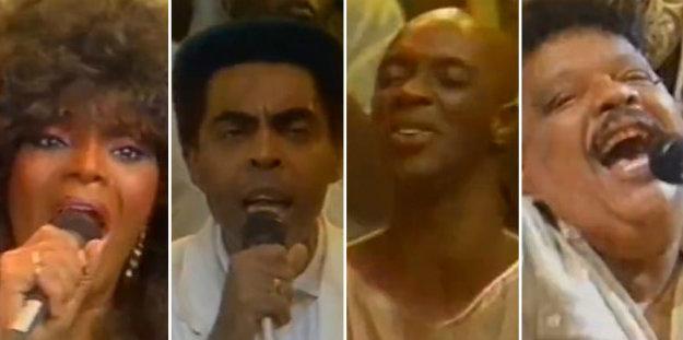 Elza Soares, Gilberto Gil, Jorge Lafond e Tim Maia participaram da vinheta especial em 1987