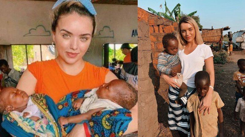 Rafa Kalimann posando com crianças pobres na África