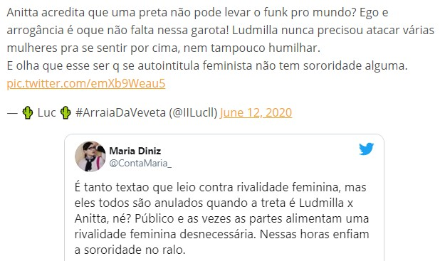 Funk feud Re Match: Ludmilla Again Insulted With Racist Taunts