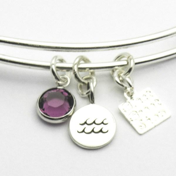 Amethyst Aquarius Charm Bracelet