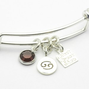 Ruby Cancer Charm Bracelet