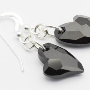 Jet Heart Earrings