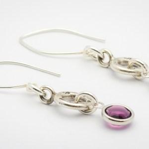 February Flower Design Hill Tribe Silver Drop Earrings