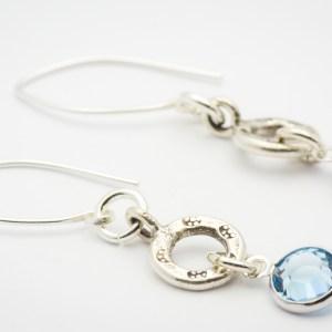 March Flower Design Hill Tribe Silver Drop Earrings