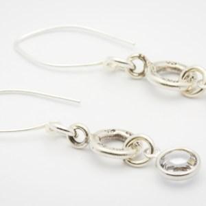 April Flower Design Hill Tribe Silver Drop Earrings
