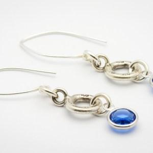 September Flower Design Hill Tribe Silver Drop Earrings