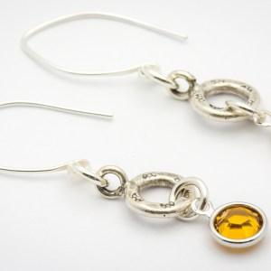 November Flower Design Hill Tribe Silver Drop Earrings