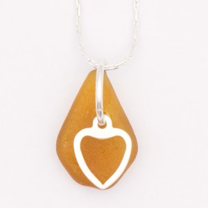 Dainty Heart Amber Sea Glass Necklace