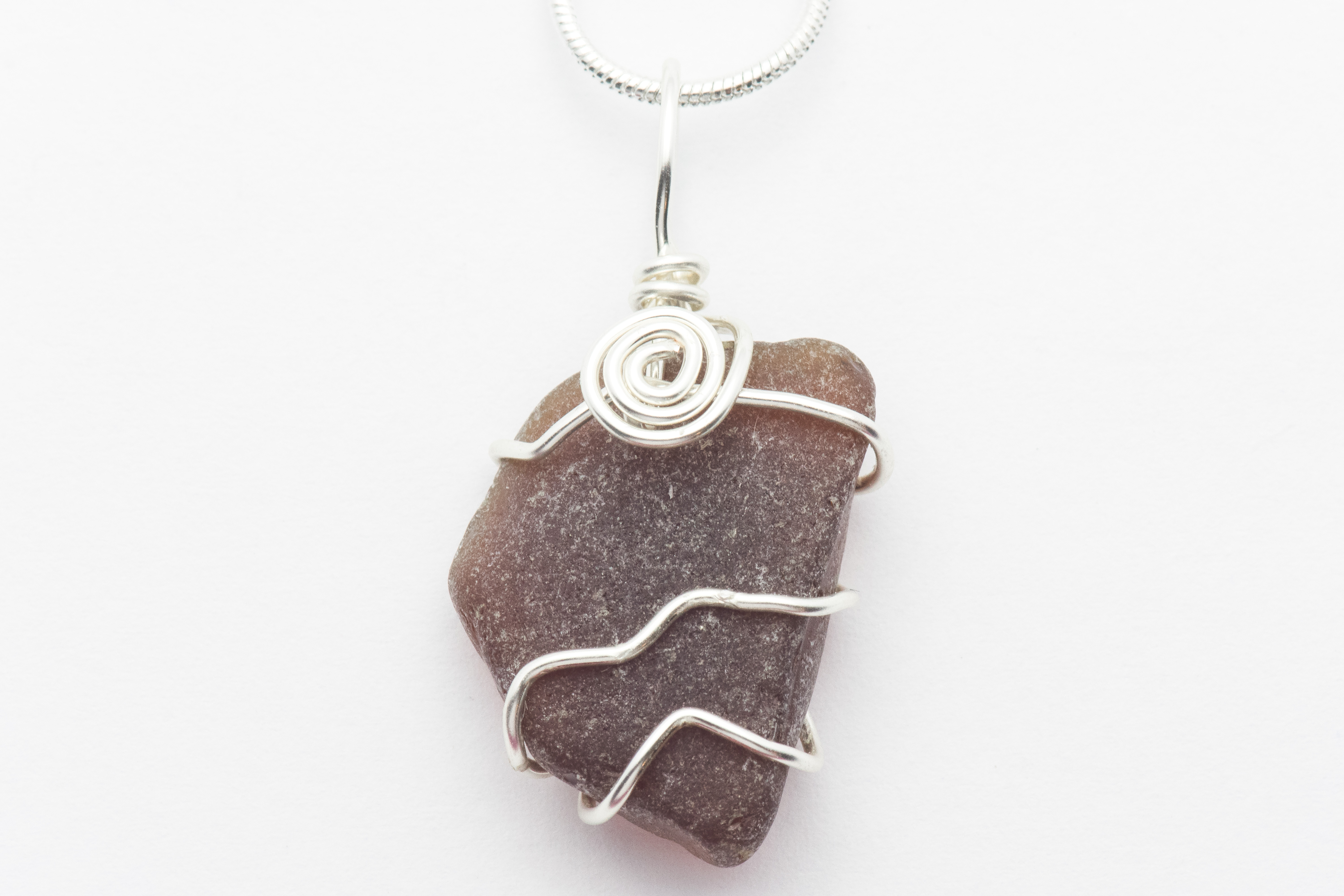 wire wrapped recycled glass pendant. Wire Wrapped Brown Sea Glass Swirl Necklace Recycled Pendant