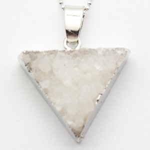 Powder White Druzy Agate Necklace