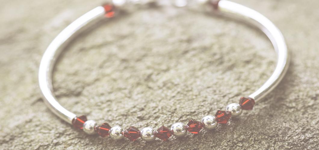 Garnet Swarovski January Birthstone Bracelet