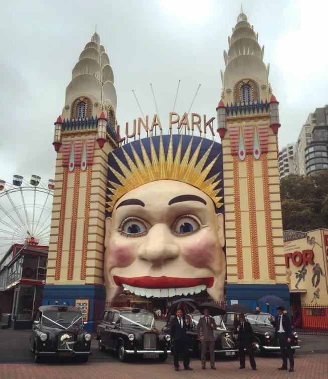 Luna Park Sydney London Black Cab Weddng