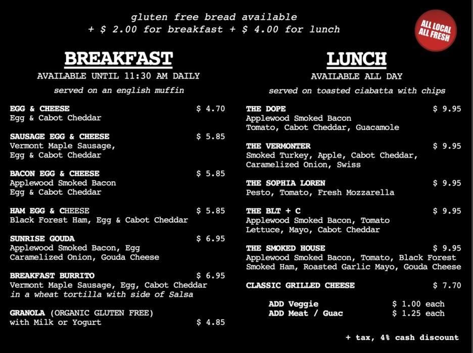 Breakfast & Lunch menu