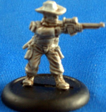 Trooper in cowboy hat with automatic rifle