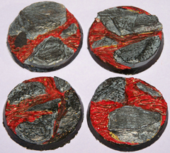 5x Volcanic Earth 40mm bases