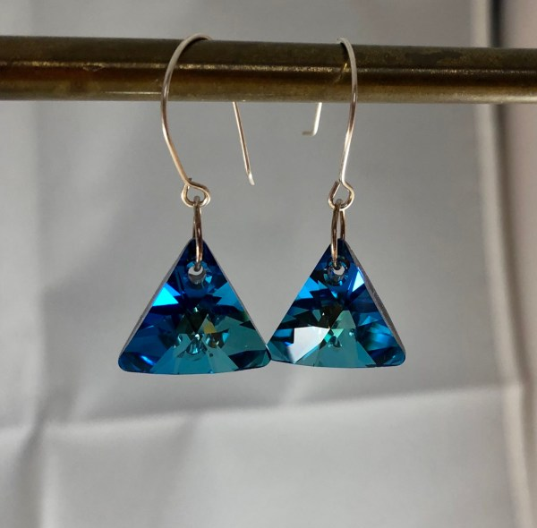 crystal blue swarovski earrings